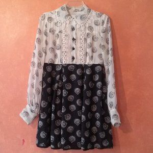 Anna Sui 100% Silk Black & Cream Lace Dress Sz. 2